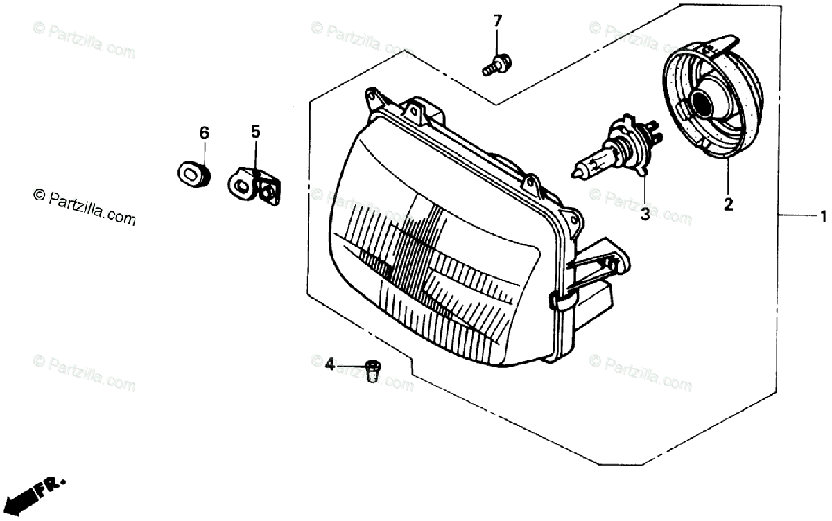 Honda Motorcycle 1988 OEM Parts Diagram for Headlight