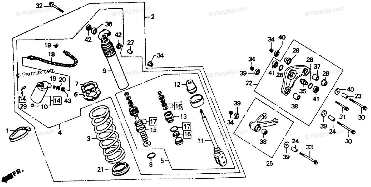 Honda Motorcycle 1992 OEM Parts Diagram for Shock Absorber