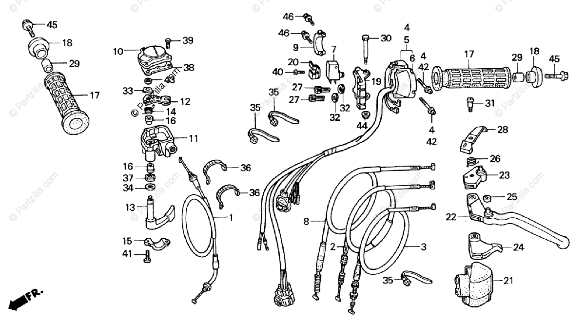 Honda ATV 1996 OEM Parts Diagram for Handle Switch Cables