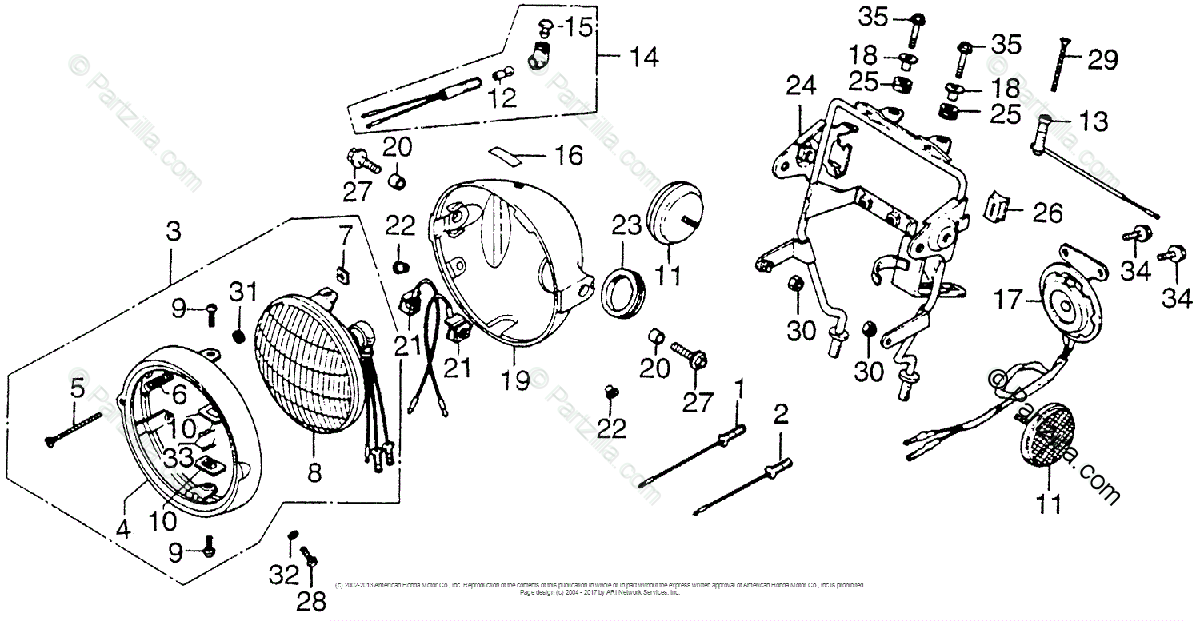 Honda Motorcycle 1976 OEM Parts Diagram for Headlight