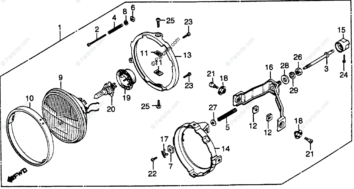 Honda Motorcycle 1982 OEM Parts Diagram for Headlight