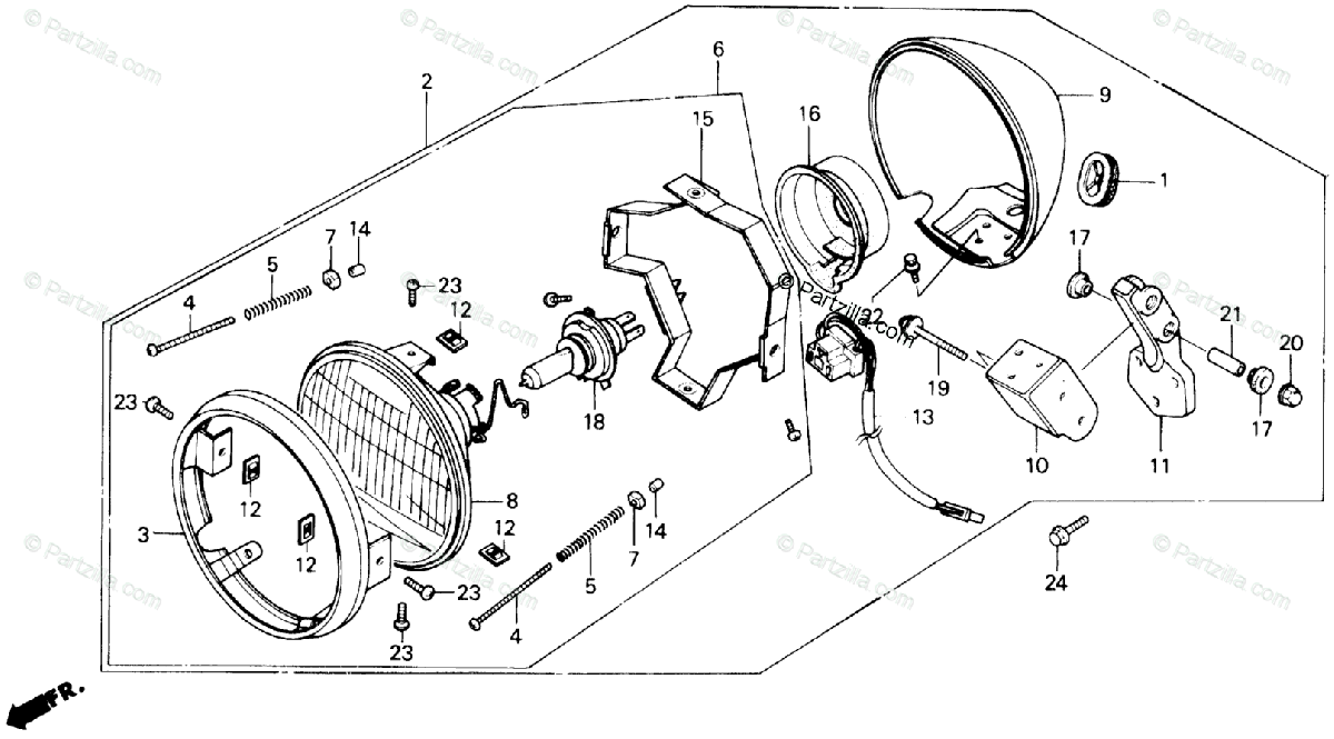 Honda Motorcycle 1986 OEM Parts Diagram for Headlight