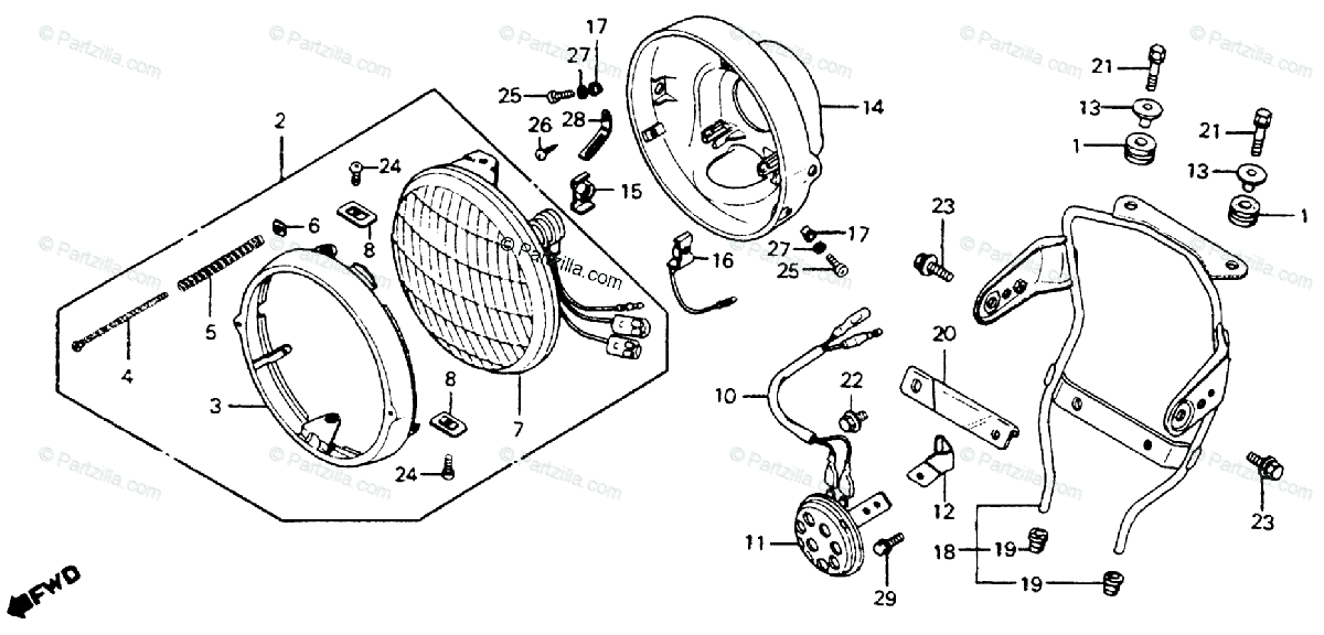Honda Motorcycle 1980 OEM Parts Diagram for Headlight