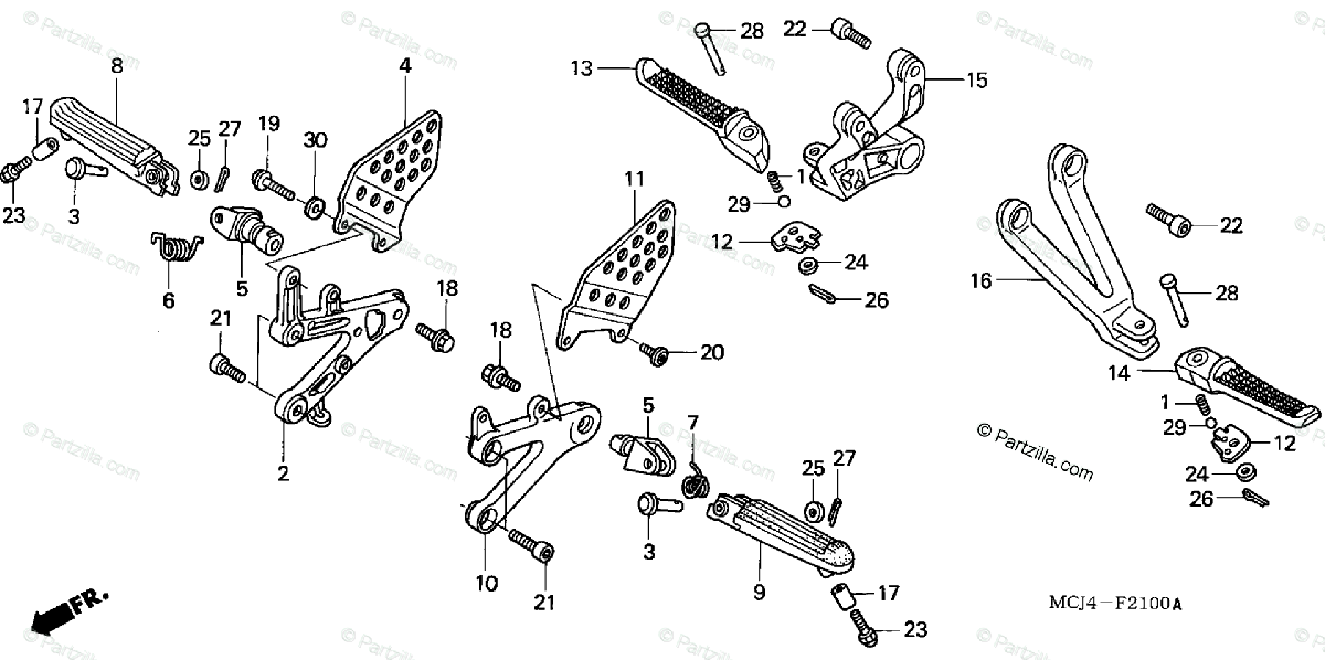 Honda Motorcycle 2002 OEM Parts Diagram for Step
