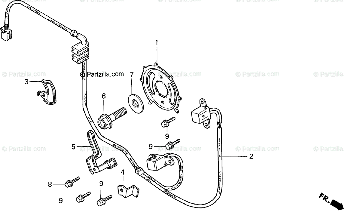 Honda Motorcycle 1995 OEM Parts Diagram for Ignition Pulse