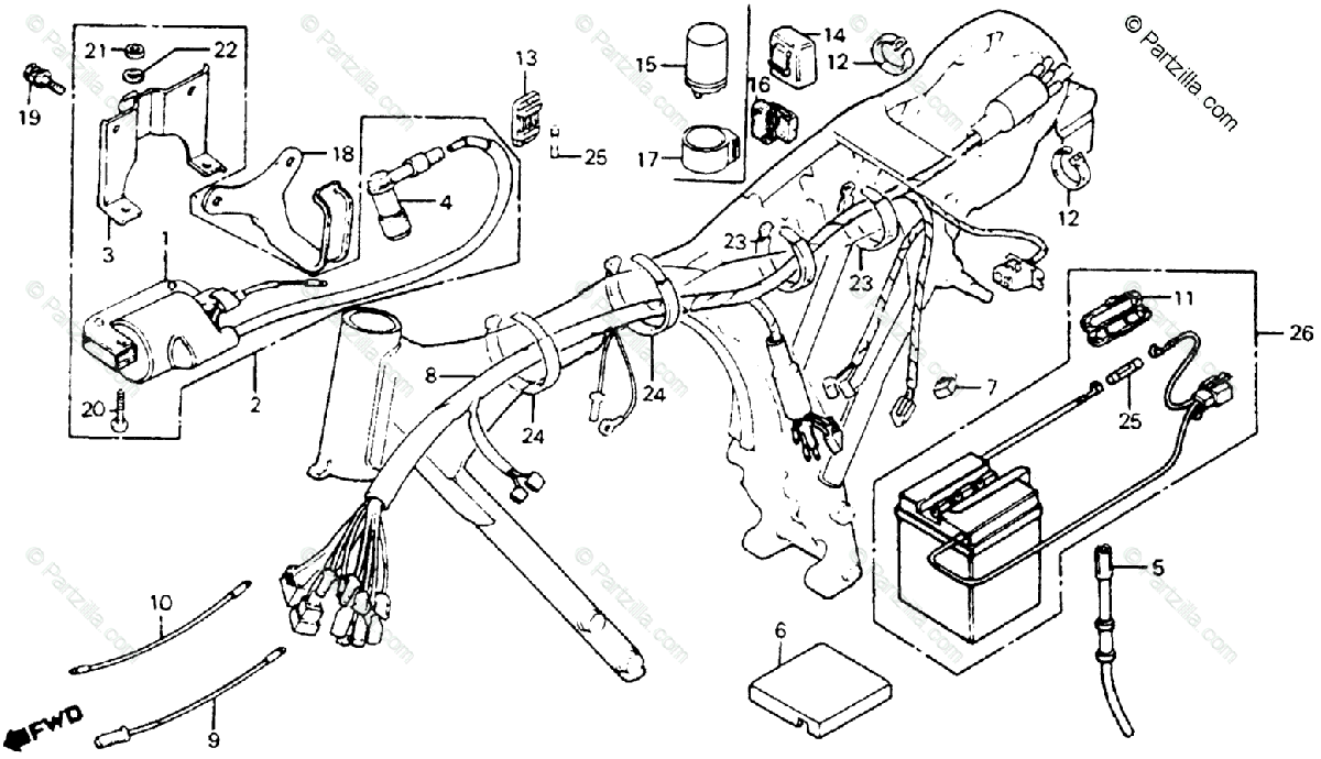 Honda Motorcycle 1980 OEM Parts Diagram for Wire Harness