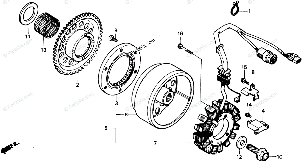 Honda ATV 1991 OEM Parts Diagram for Alternator