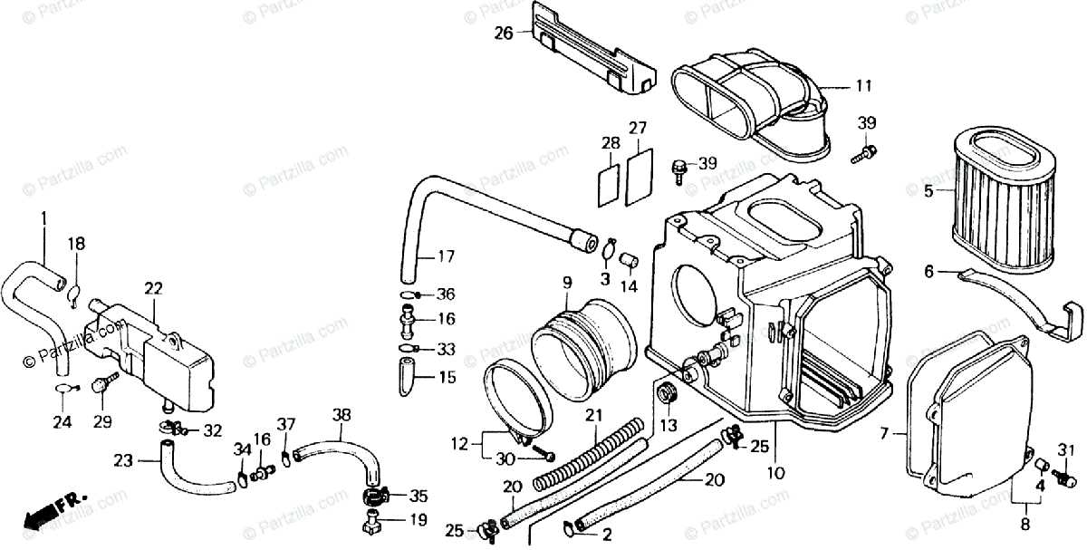 Honda Motorcycle 1989 OEM Parts Diagram for Air Cleaner