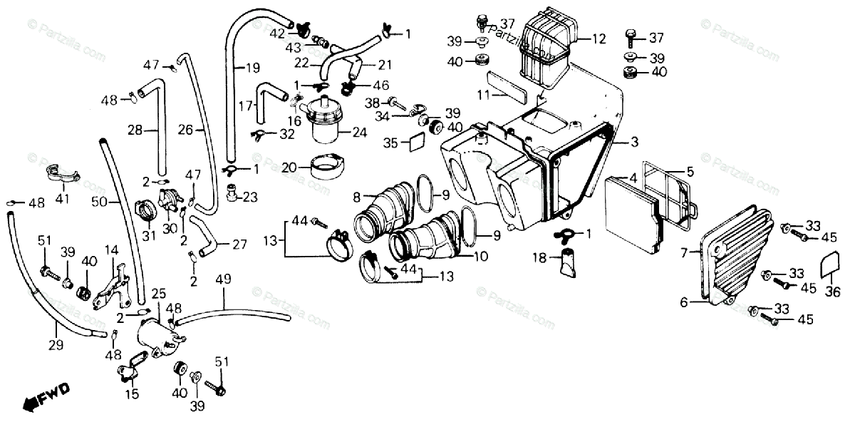 Honda Motorcycle 1985 OEM Parts Diagram for Air Cleaner