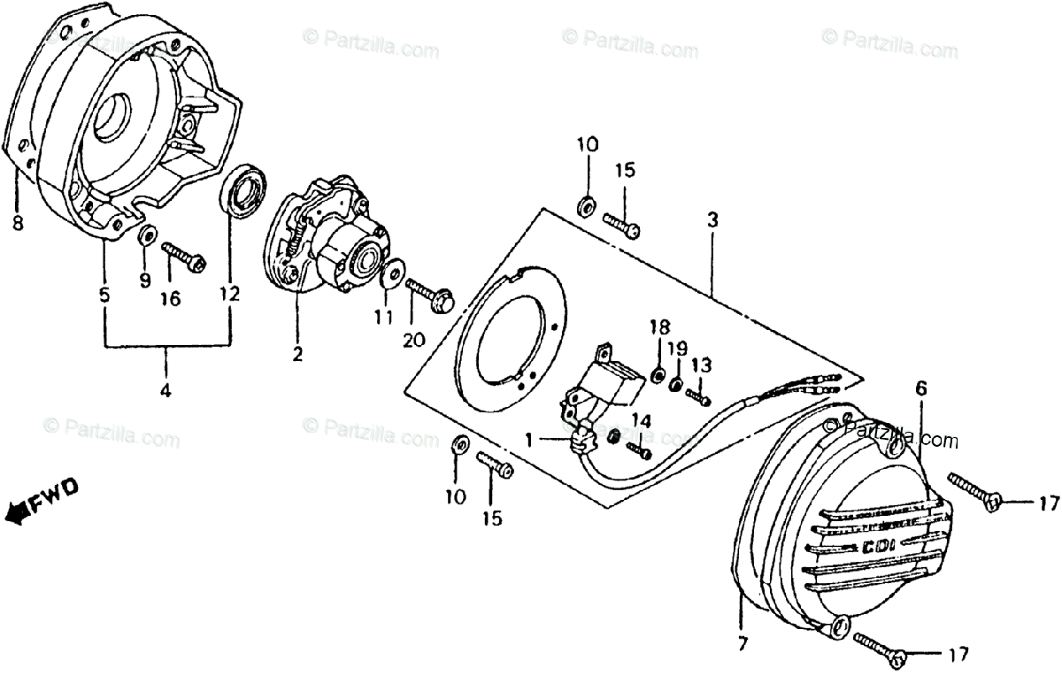 Honda Motorcycle 1982 OEM Parts Diagram for Spark Advancer