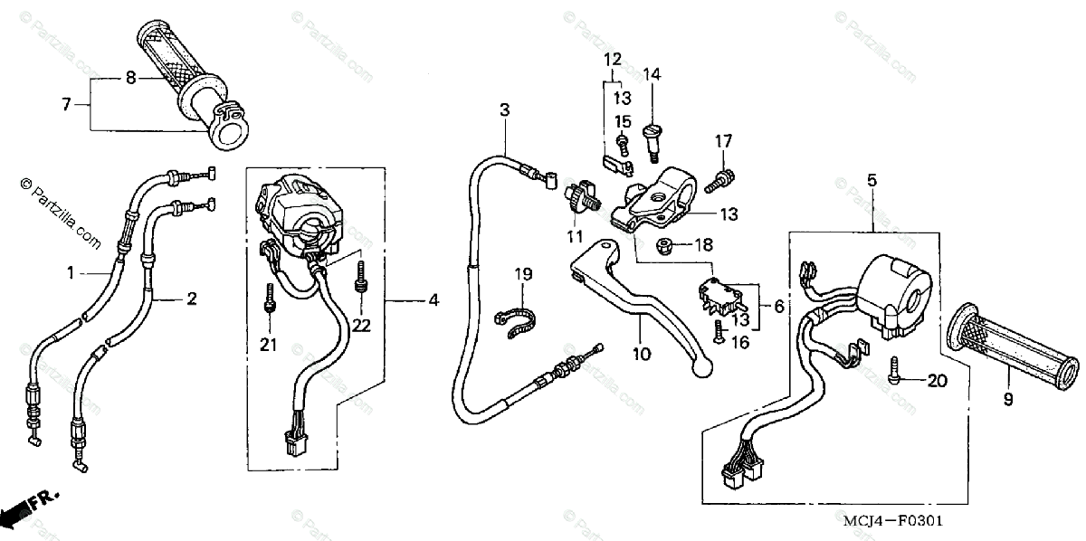 Honda Motorcycle 2002 OEM Parts Diagram for Cable / Switch