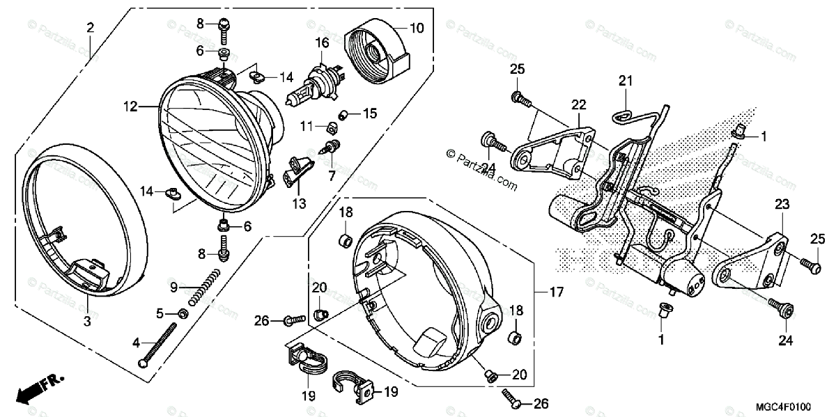 Honda Motorcycle 2013 OEM Parts Diagram for Headlight