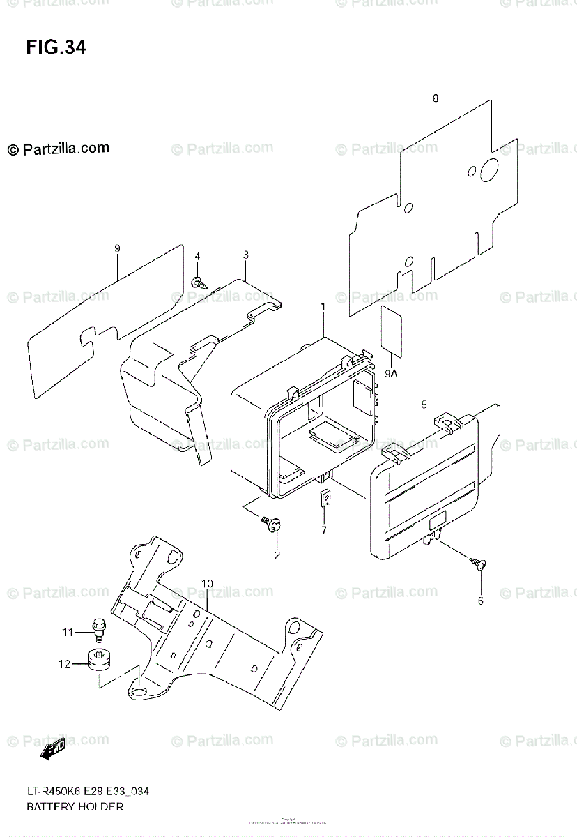 Suzuki ATV 2006 OEM Parts Diagram for Battery Holder