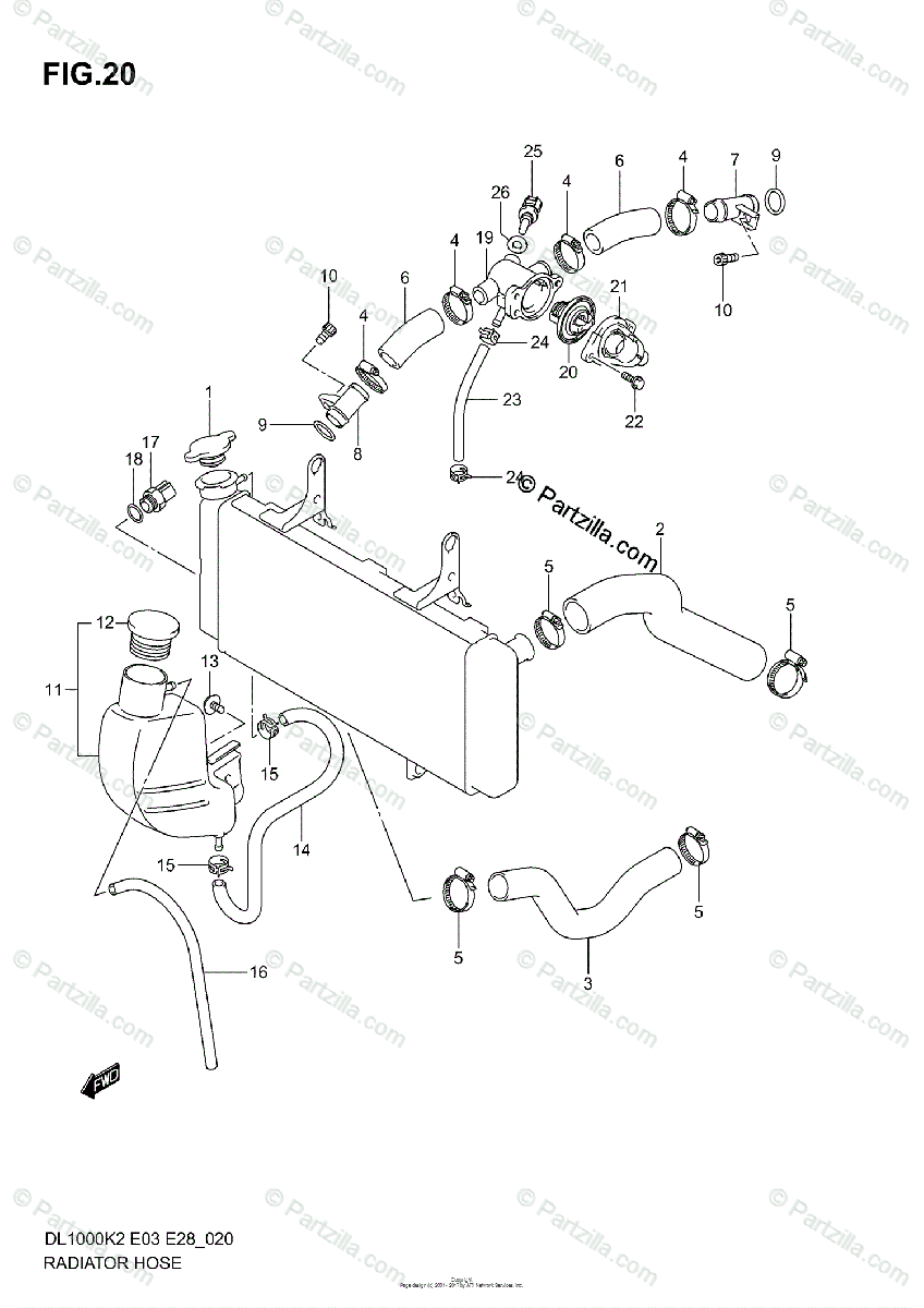 Suzuki Motorcycle 2002 OEM Parts Diagram for Radiator Hose