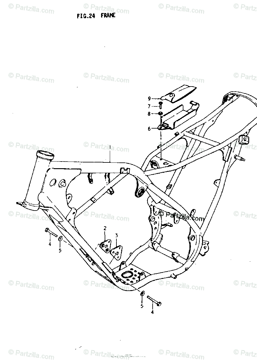 Suzuki Motorcycle 1979 OEM Parts Diagram for Frame