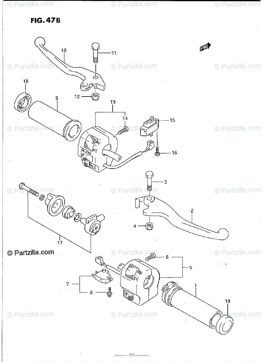 Suzuki Motorcycle 1993 OEM Parts Diagram for HANDLE SWITCH