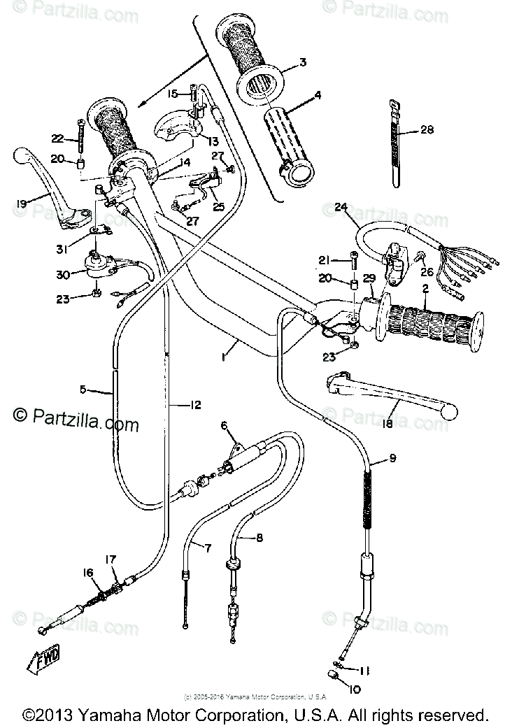 Yamaha Motorcycle 1972 OEM Parts Diagram for HANDLE- WIRE