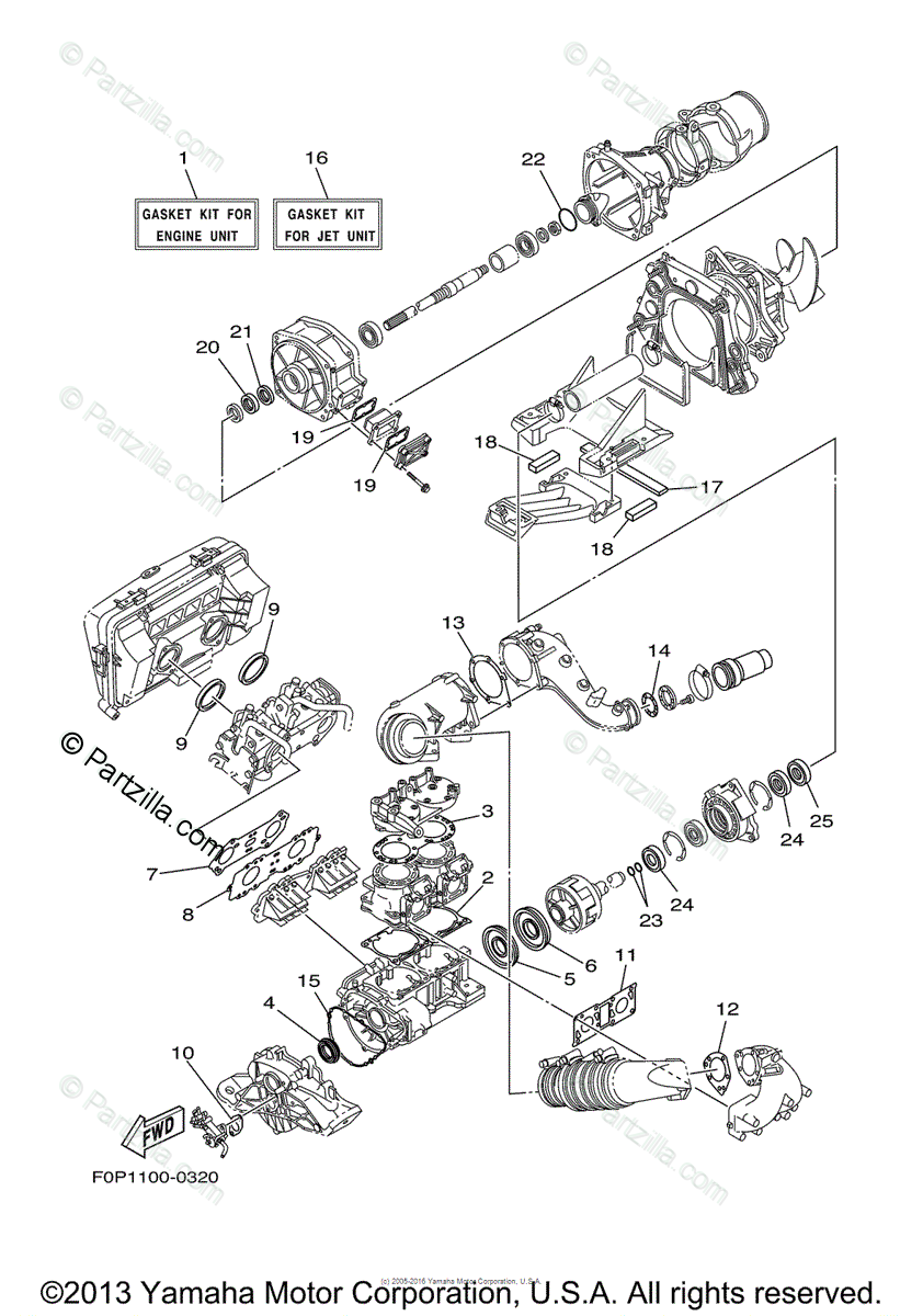 Yamaha Waverunner 2000 OEM Parts Diagram for Repair Kit 1