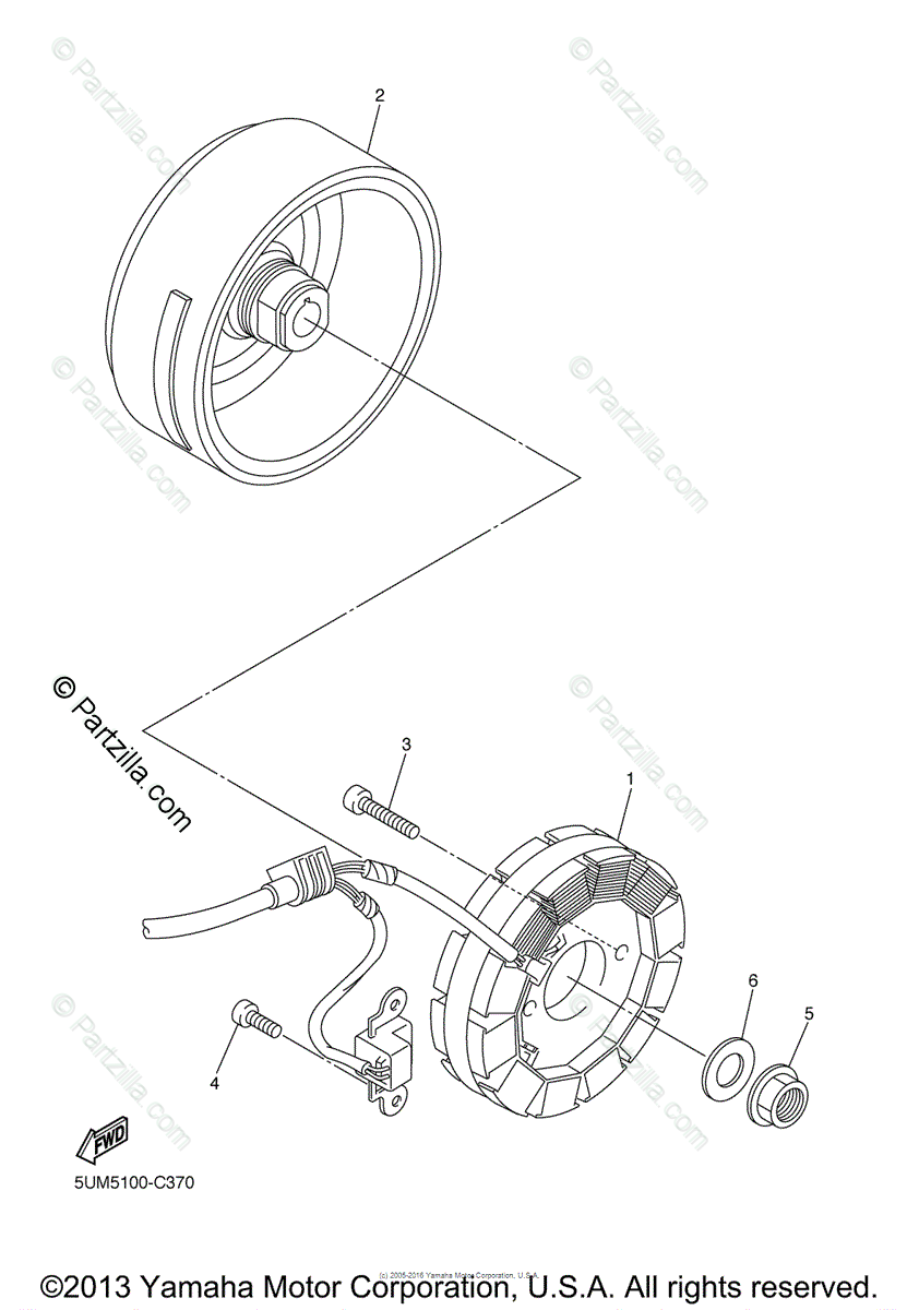Yamaha Motorcycle 2004 OEM Parts Diagram for Generator