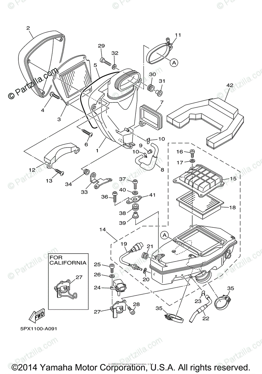Yamaha Motorcycle 2004 OEM Parts Diagram for Intake 2