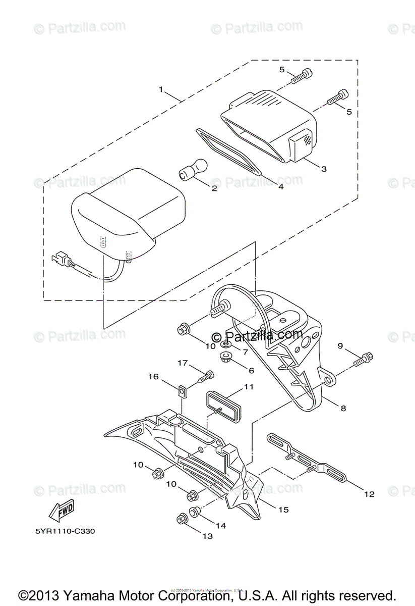 Yamaha Scooter 2009 OEM Parts Diagram for Taillight