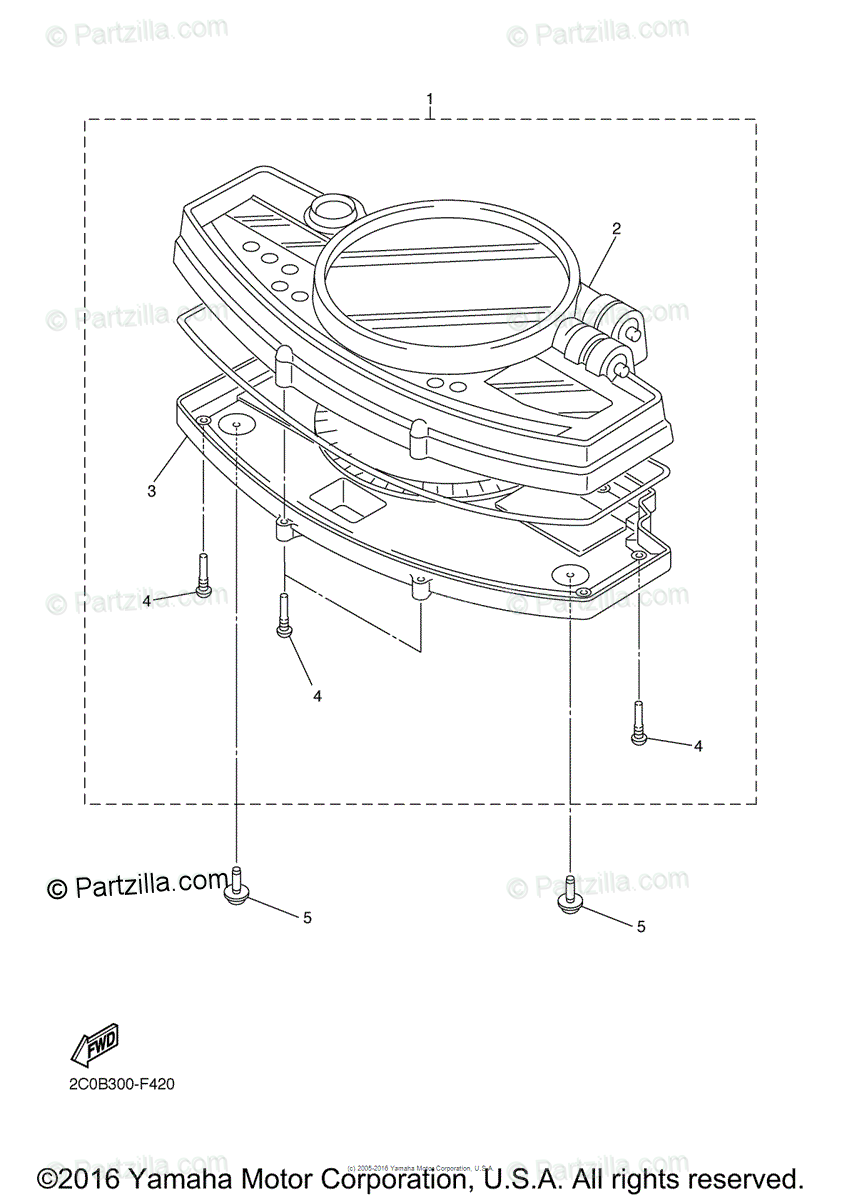 Yamaha Motorcycle 2007 OEM Parts Diagram for Meter