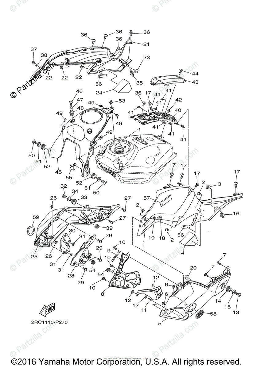 Yamaha Motorcycle 2015 OEM Parts Diagram for Fuel Tank (2