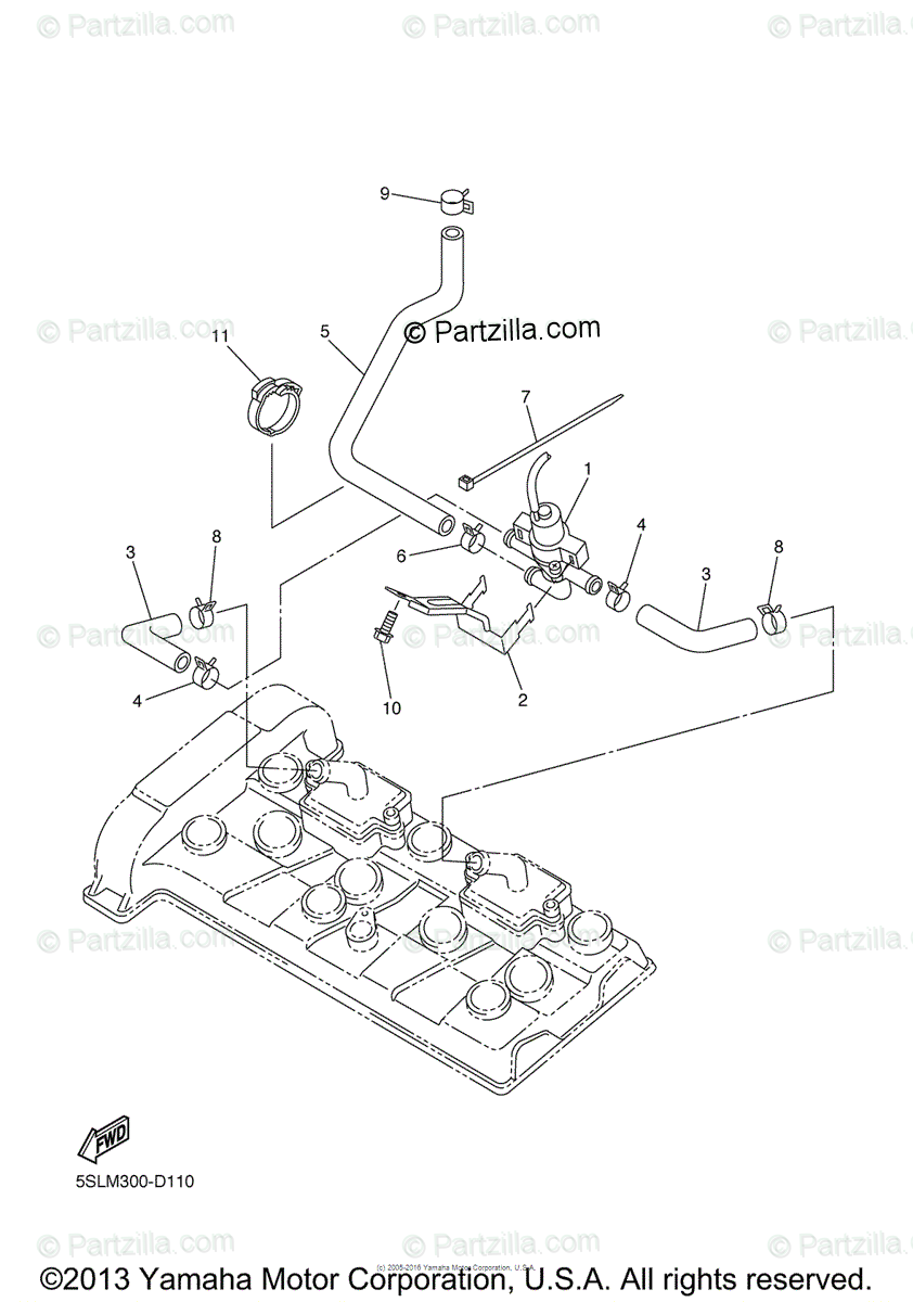 Yamaha Motorcycle 2005 OEM Parts Diagram for Air Induction