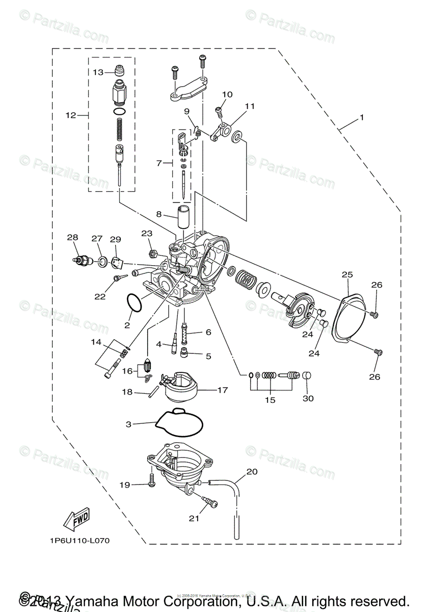 Yamaha Motorcycle 2013 OEM Parts Diagram for Carburetor