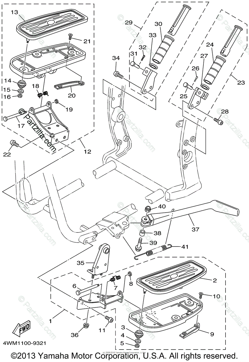 Yamaha Motorcycle 1999 OEM Parts Diagram for Stand