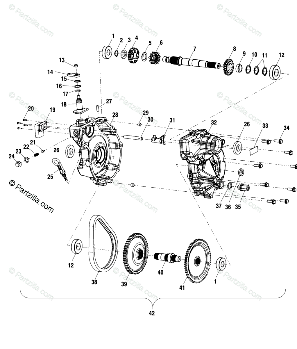 Polaris ATV 2001 OEM Parts Diagram for Gearcase A01aa32aa