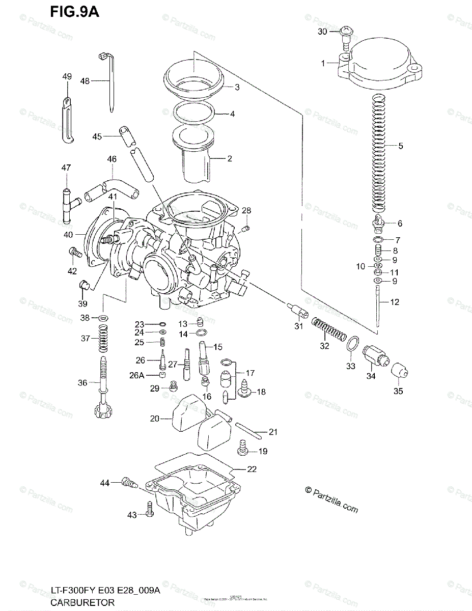 Suzuki ATV 1999 OEM Parts Diagram for CARBURETOR (MODEL Y