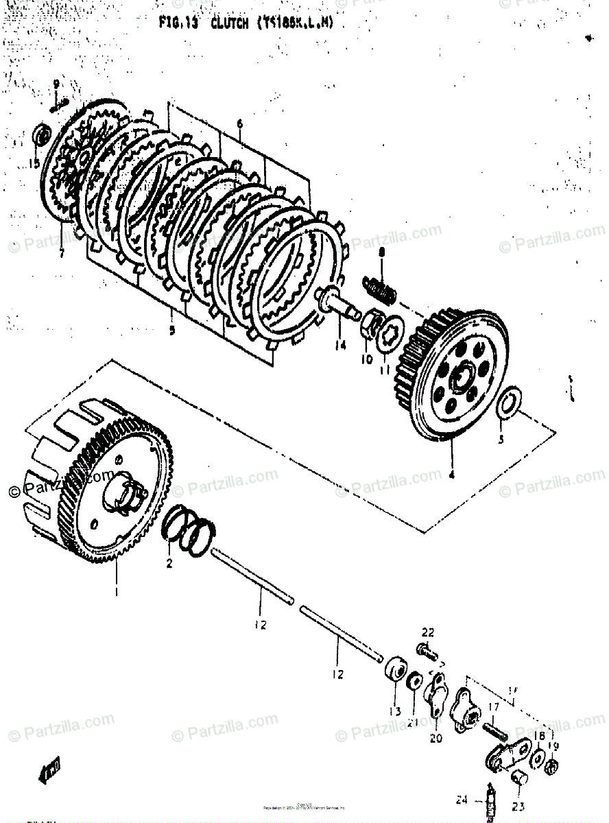 Suzuki Motorcycle 1973 OEM Parts Diagram for CLUTCH