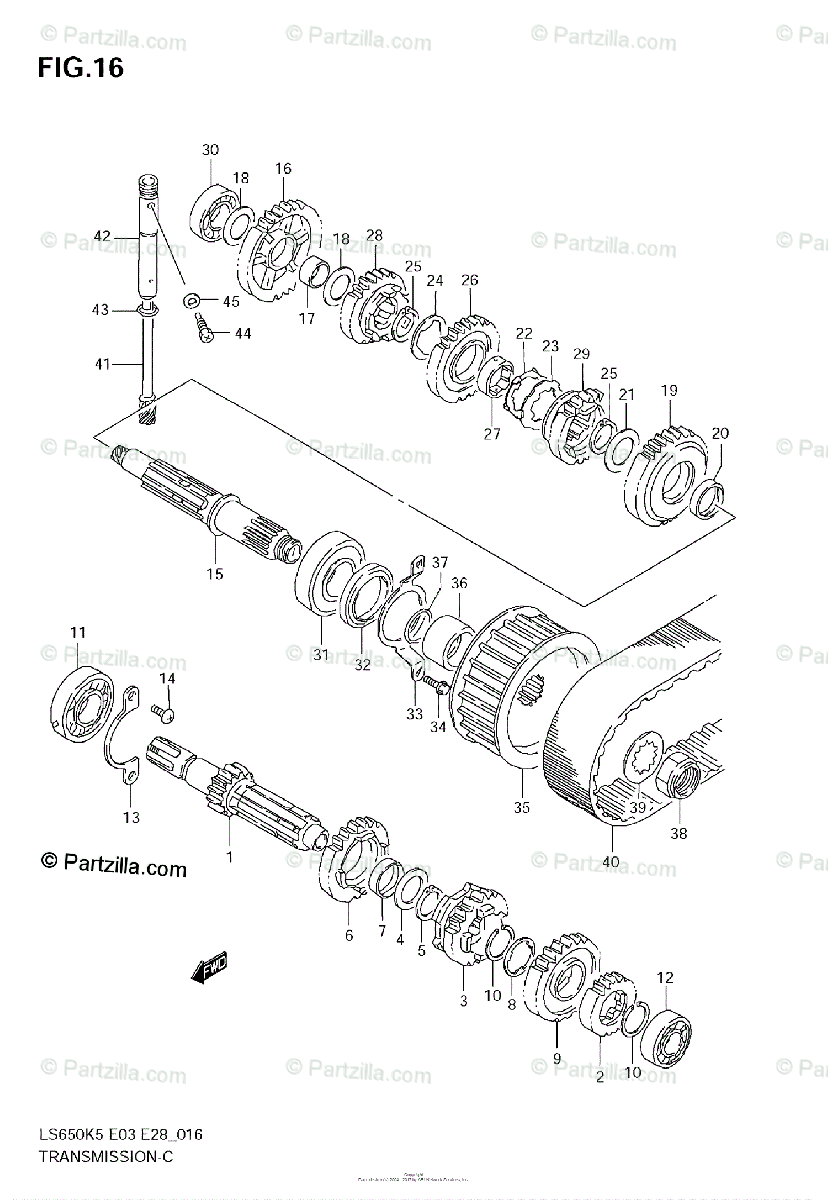 Suzuki Motorcycle 2009 OEM Parts Diagram for Transmission