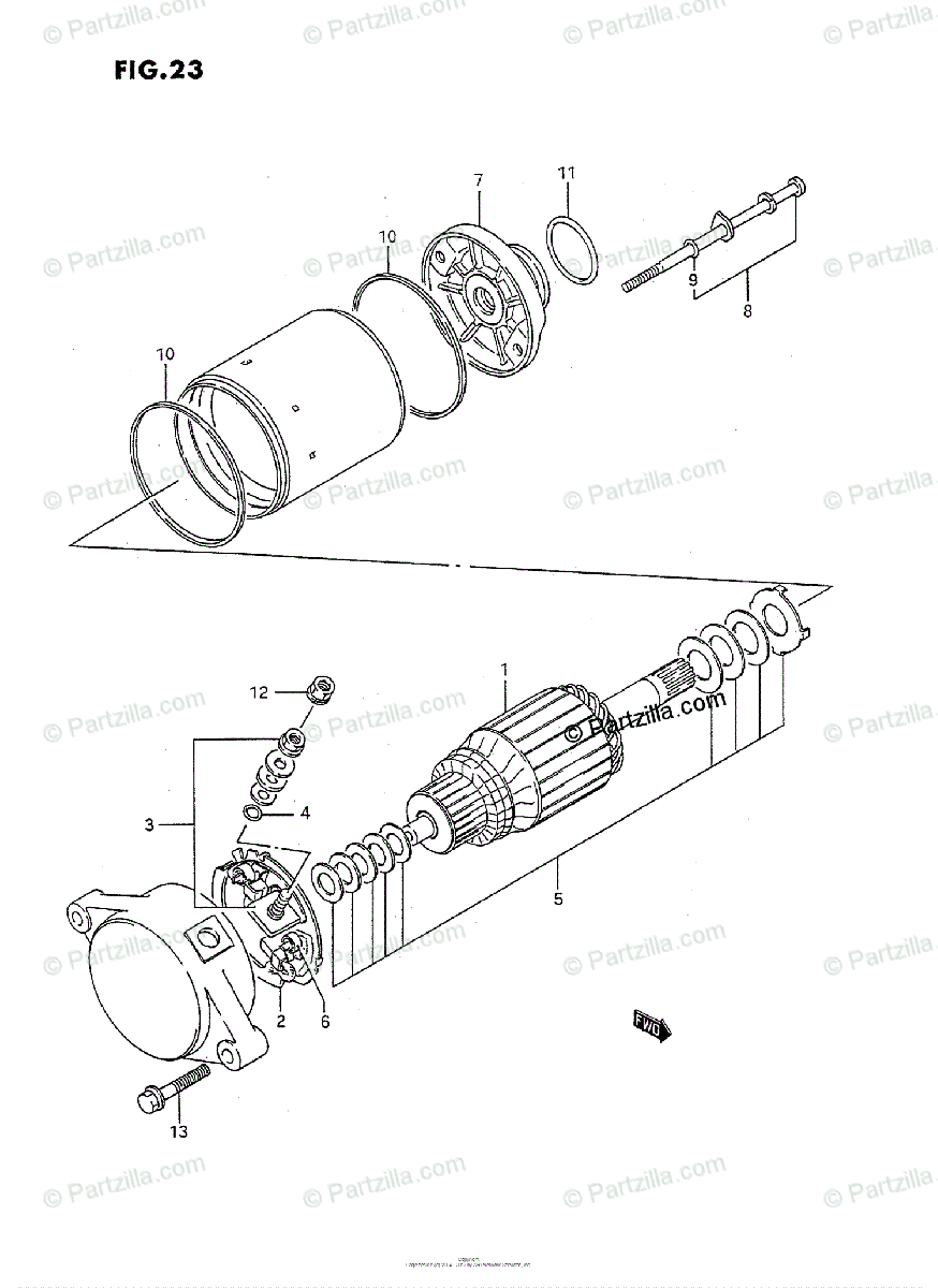 Suzuki ATV 1994 OEM Parts Diagram for Starting Motor