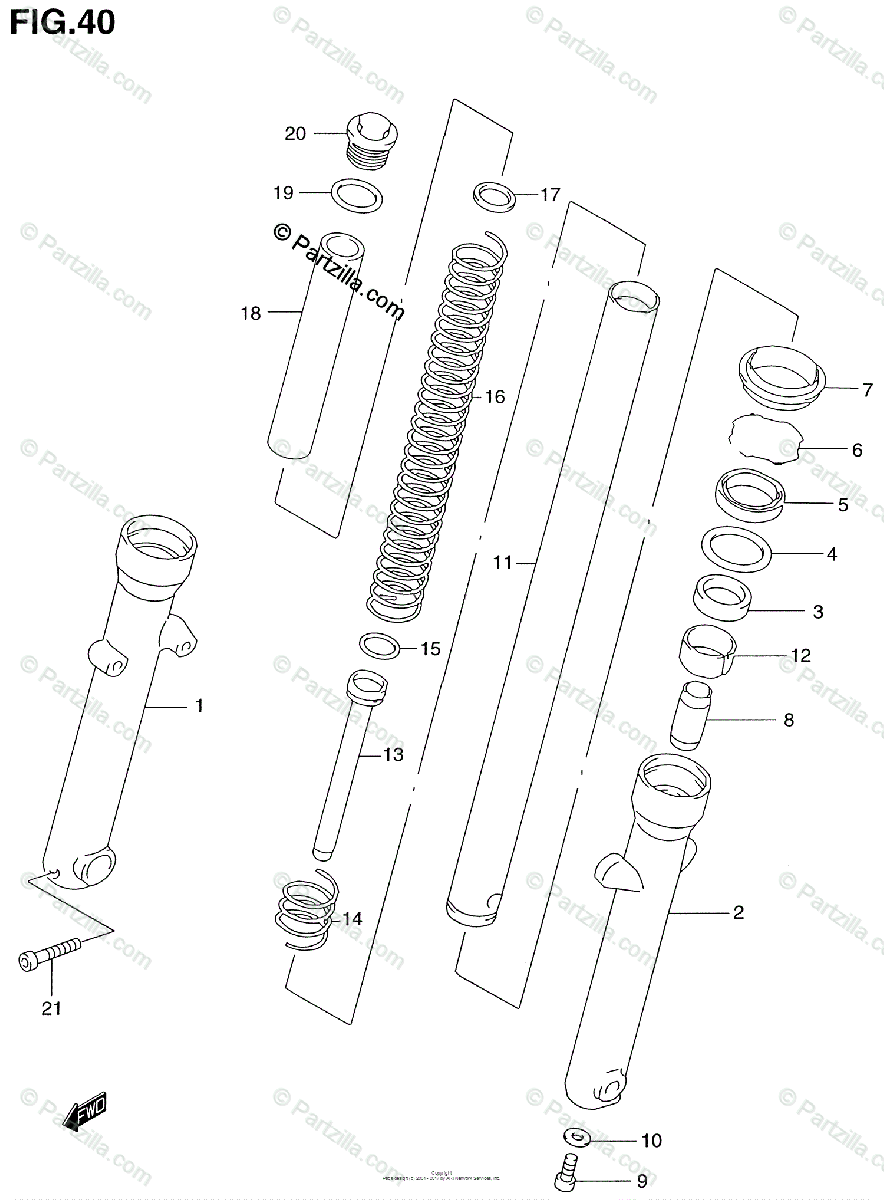 Suzuki Motorcycle 1999 OEM Parts Diagram for Front Fork