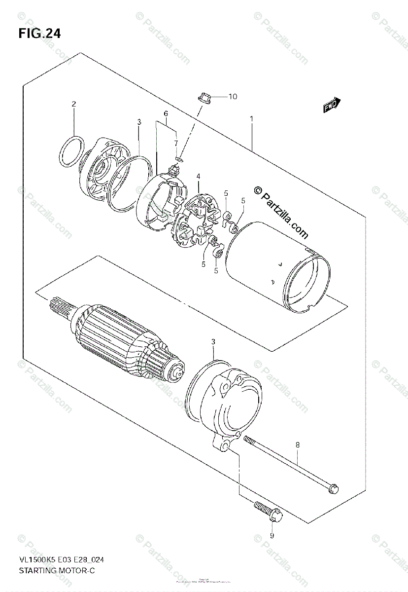 Suzuki Motorcycle 2005 OEM Parts Diagram for STARTING