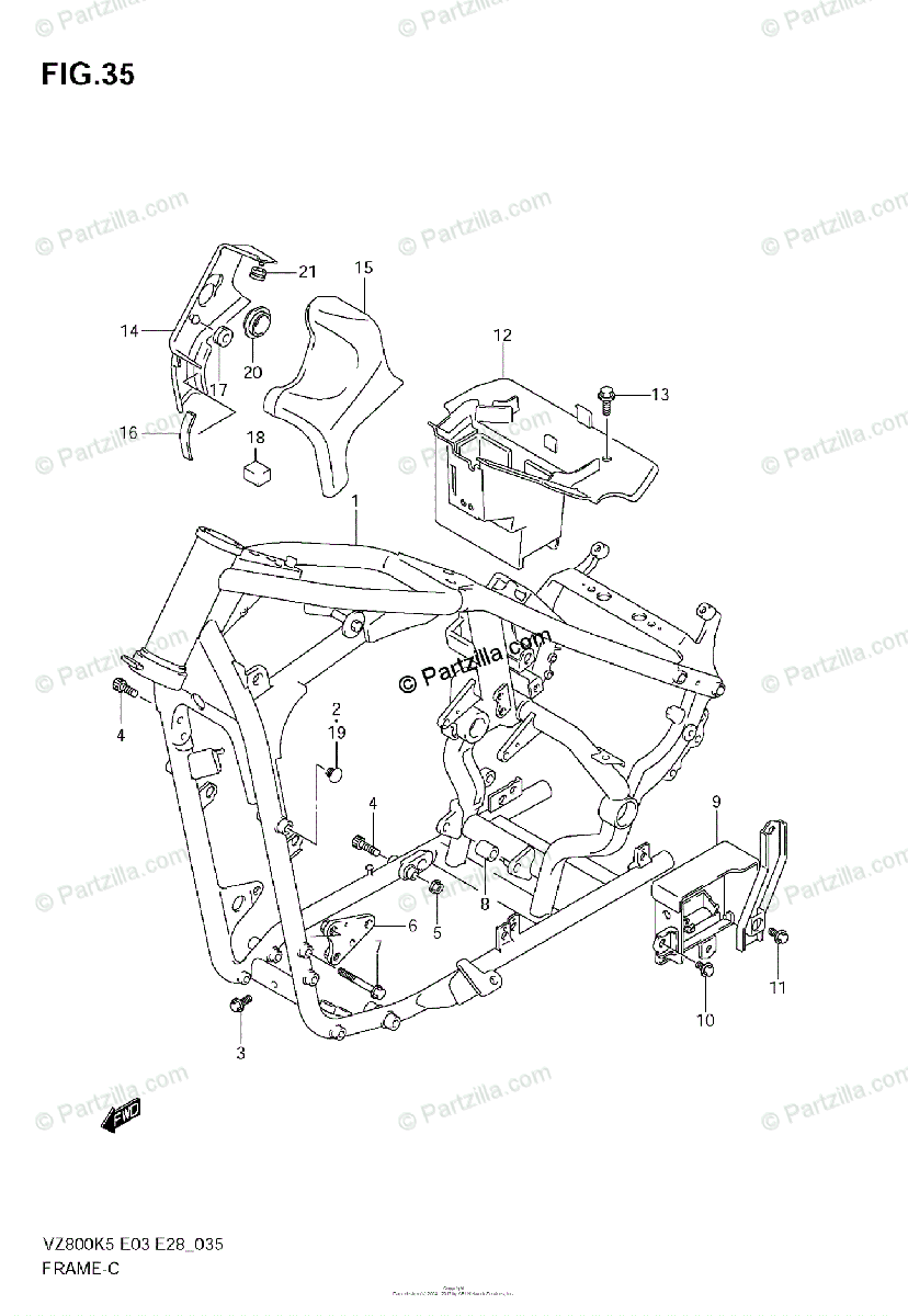 Suzuki Motorcycle 2005 OEM Parts Diagram for FRAME (MODEL