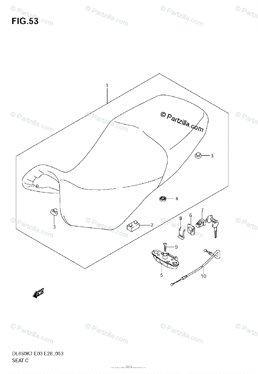 Suzuki Motorcycle 2009 OEM Parts Diagram for SEAT