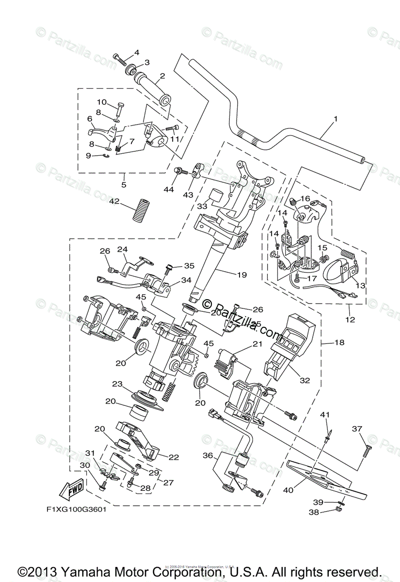 Yamaha Waverunner 2008 OEM Parts Diagram for Steering (1