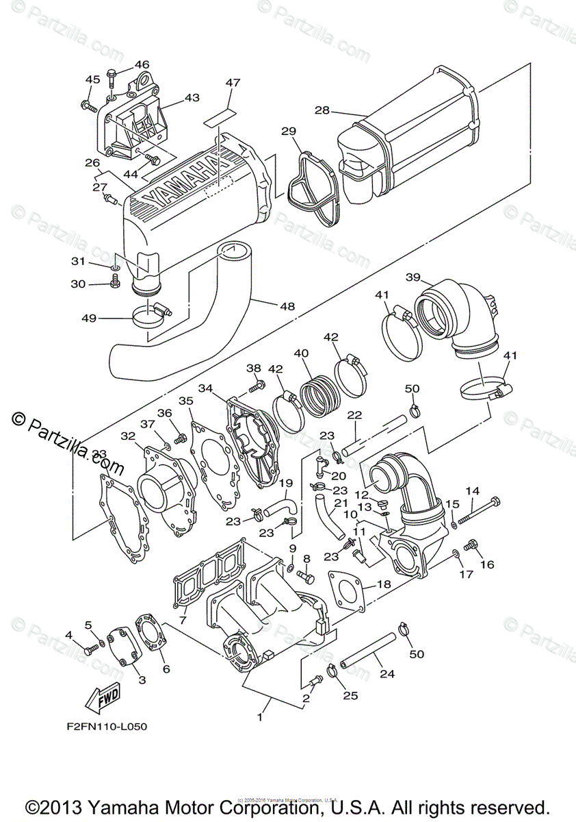 Yamaha Waverunner 2014 OEM Parts Diagram for Exhaust (1