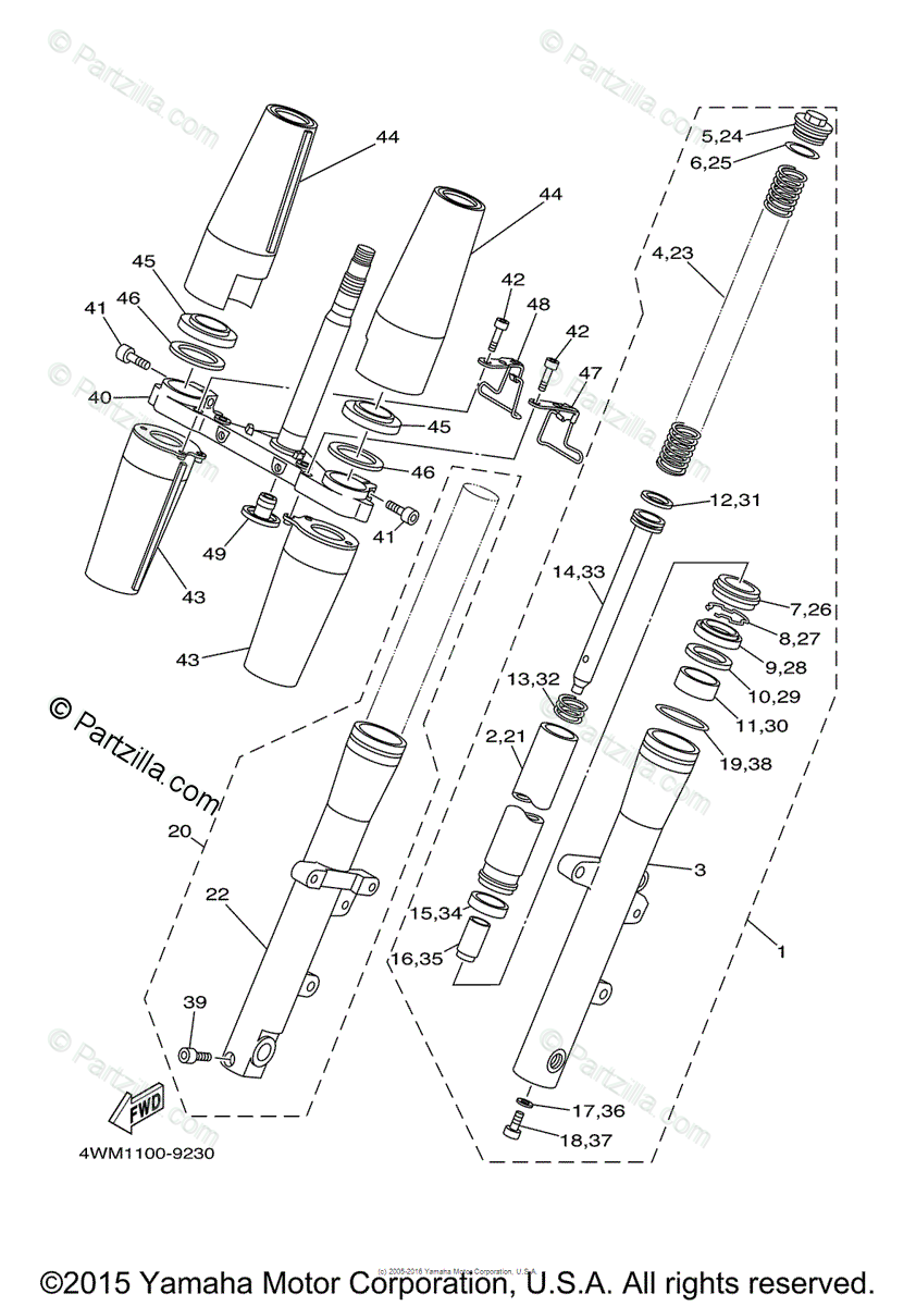 Yamaha Motorcycle 2008 OEM Parts Diagram for FRONT FORK