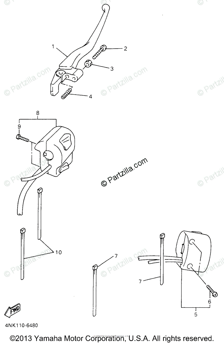 Yamaha Motorcycle 1996 OEM Parts Diagram for Handle Switch