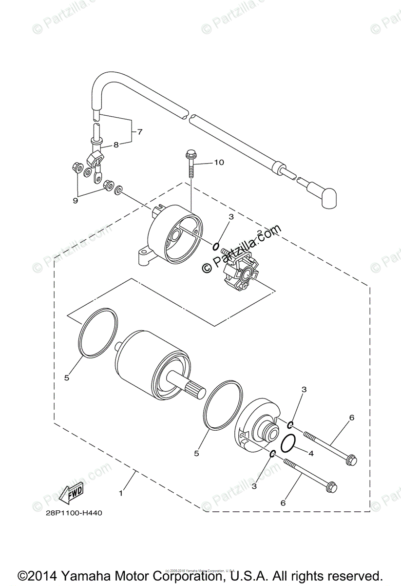 Yamaha ATV 2010 OEM Parts Diagram for Starting Motor