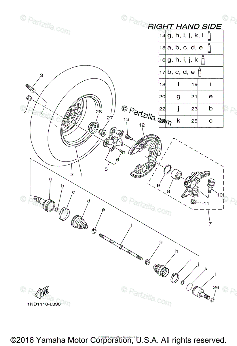 Yamaha ATV 2012 OEM Parts Diagram for Front Wheel 2