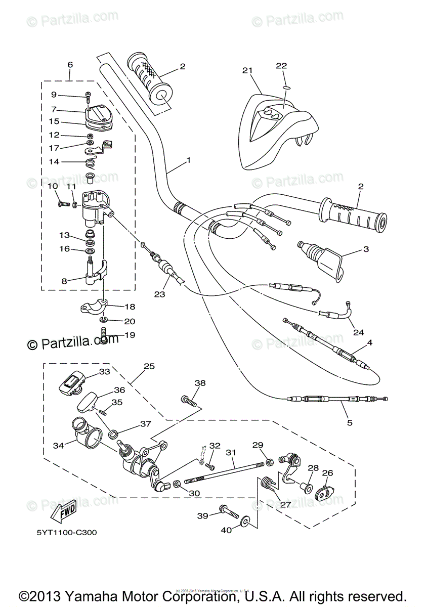 Yamaha ATV 2007 OEM Parts Diagram for Steering Handle
