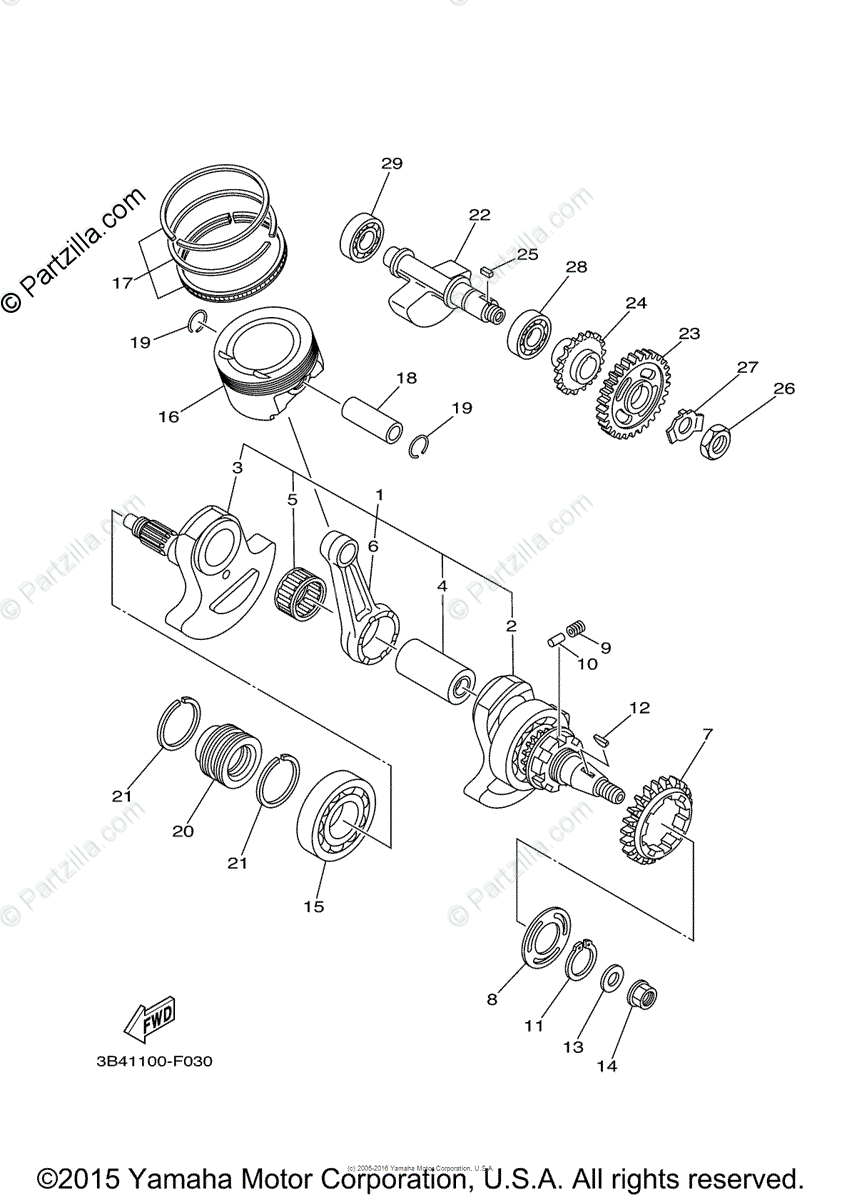 Yamaha ATV 2007 OEM Parts Diagram for Crankshaft Piston
