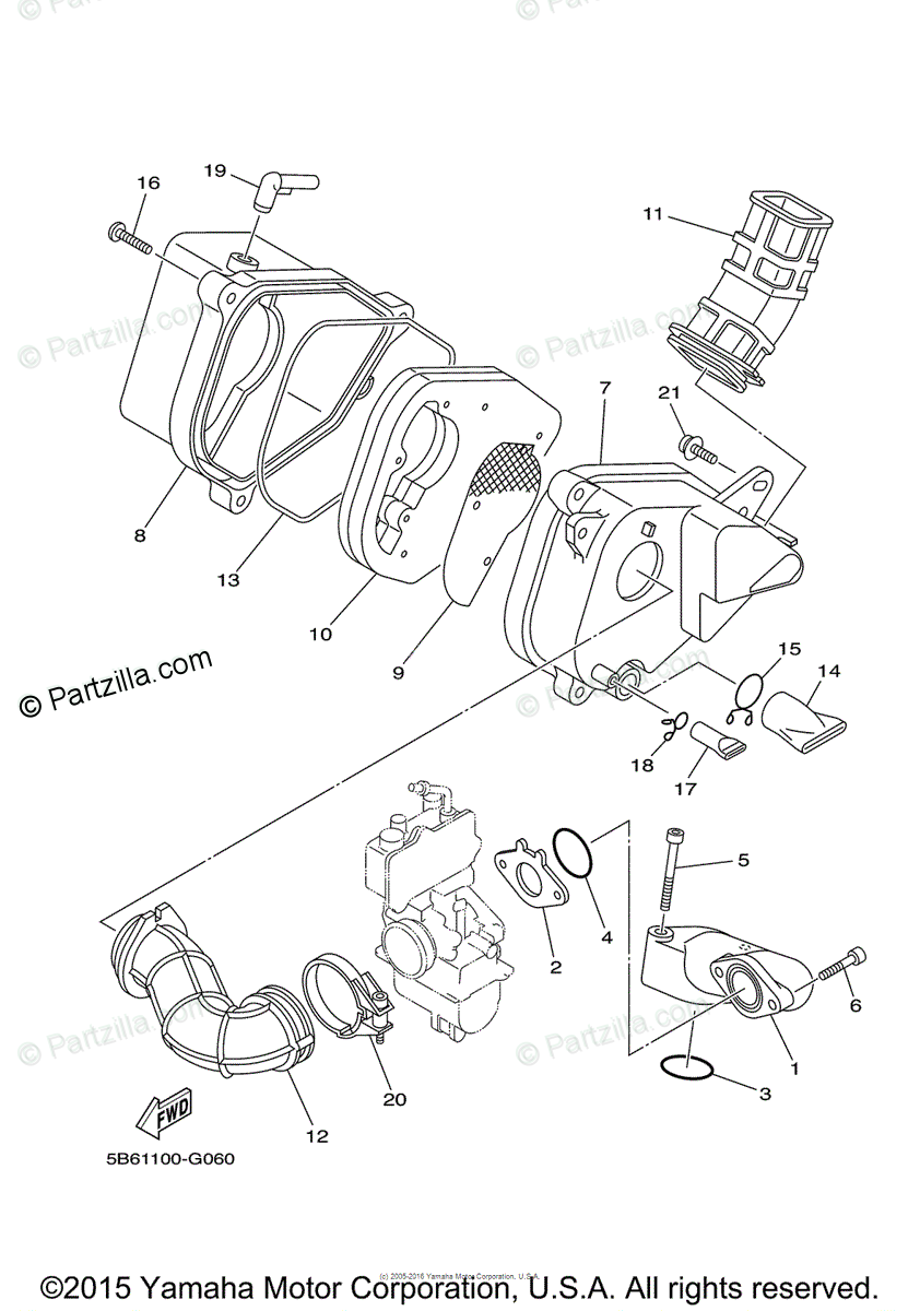 Yamaha Motorcycle 2013 OEM Parts Diagram for Intake