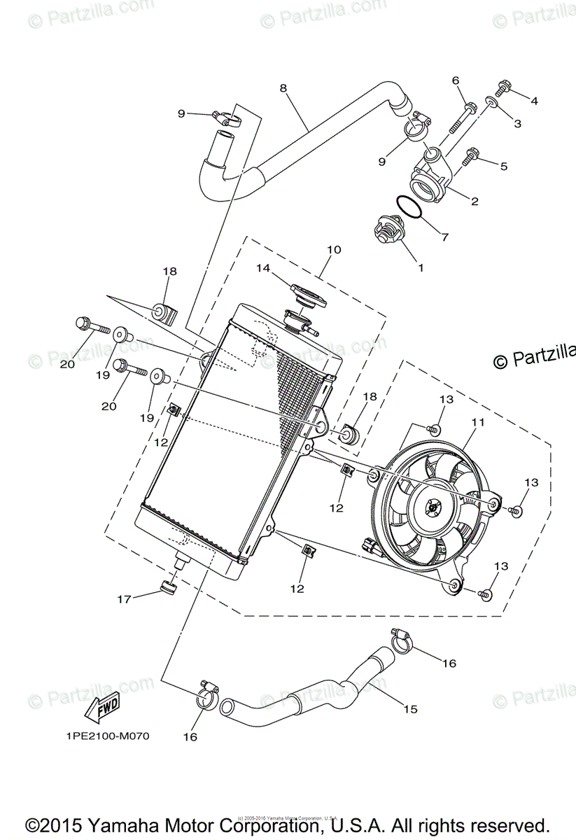 Yamaha ATV 2015 OEM Parts Diagram for Radiator Hose