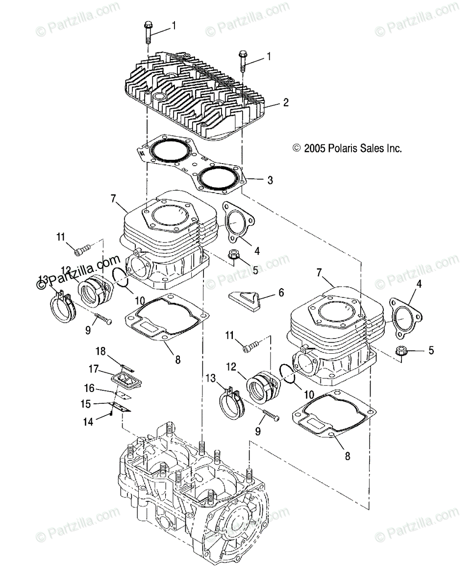 Polaris Snowmobile 2019 OEM Parts Diagram for Engine